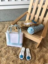 "Dollhouse Miniature Beach Set #5 Flip Flops Sandals Hat Towel Bag 1"" Scale 1:12"