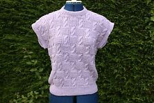 New Hand Knitted lilac sleeveless round neck top/slipover cable pattern 12-16
