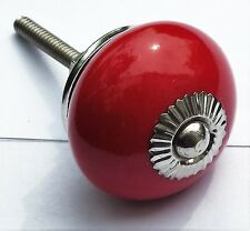 Red round with Chrome fittings Ceramic drawer cabinet cupboard pulls knobs