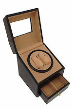 BLACK WOOD DUAL DOUBLE QUAD 2+2 AUTOMATIC WATCH WINDER DISPLAY BOX BATTERY / AC