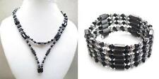 Women Girls Black Silver Bead Magnetic Hematite Fashion Bracelet Choker Necklace