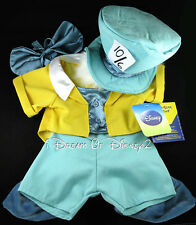 NEW DISNEY MAD HATTER ALICE WONDERLAND COSTUME BUILD-A-BEAR TEDDY CLOTHES 6 PC