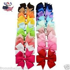 Lot of 20 Boutique Grosgrain Ribbon Hair Bows w/Clips Baby Toddler Girls Kids