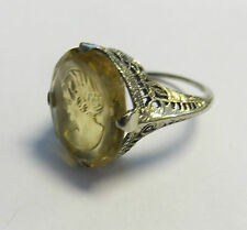 Antique Small Carved CAMEO Yellow Citrine 14k White Gold Filigree Ring