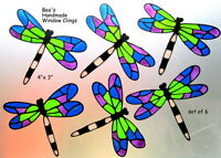 BEA'S 6 DRAGONFLY WINDOW CLING  CONSERVATORY DECALS  SAFETY  DECORATION STICKER