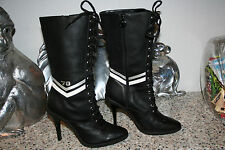 NM70 Black Leather Lace Up TALL Boots Size 7/38 Shoes GRANNY PONI RIDE