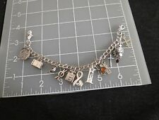 Sterling Silver Charm Bracelet 14 charms Jewelry Dangle Paris Suitcase Hourglass