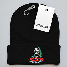 Actual Fact MF Doom All Caps Embroidered Badge Roll Up Black Wooly Beanie Hat