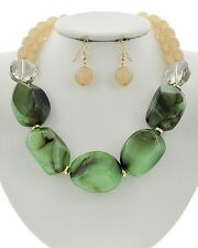 Green Black And Natural Lucite Bead Two Glass Bead Necklace Earring Set