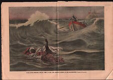 Guerra de Melilla War Envoy Moroccan drowning Spain Gunboat 1909 ILLUSTRATION
