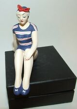 Bathing Beauty Figurine Figure Shelf Sitter Red White & Blue Stripe Pattern