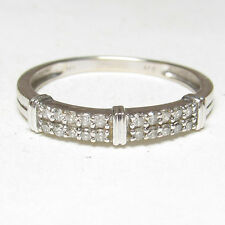Estate 14K White Gold 20 Round Brilliant Cut Diamond Band Style Ring 0.20 Cts