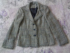Marks and Spencer M&S Blue Checked Fitted smart jacket coats wool look UK S 12