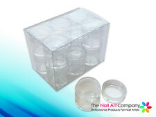 12x 10ml Storage Bottles Pots + Case For Nail Art Gems Beads Rhinestones
