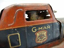 1930 's G-Man Wind Up Tin Litho Tin Toy Pursuit Car Justice Antique Louis Marx