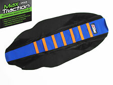 KTM 125 250 300 EXC 2012 2013 RIBBED SEAT COVER BLACK + BLUE ORANGE STRIPES RIBS