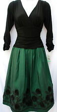 S.L.Fashions formal occasion elegant A line jersey taffeta embelished dress sz 8