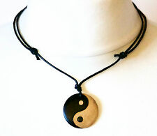 Yin Yang Necklace Choker Men's Ladies Pendant Wooden Jewellery Chinese Symbol