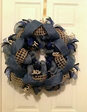 Handmade weather treated classy black, blue, and burlap deco mesh wreath