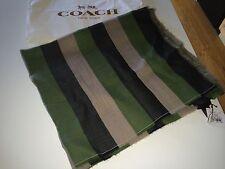 NWT COACH Awning Stripe Oblong Scarf Black, Green & Beige - Virgin Wool # 84312