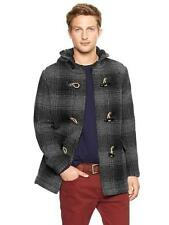 Gap XS Men's Gray Plaid Wool Duffle Toggle Hooded Jacket Coat $129.99