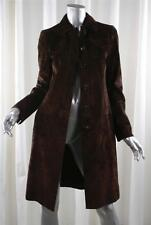 AKRIS Womens Brown Suede Leather Long-Sleeve Coat Jacket FR 36 US 2/4 XS NEW