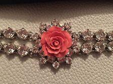 PRADA  Silver Tone Metal Rhinestone/Crystal Enamel Pink Rose  Bracelet