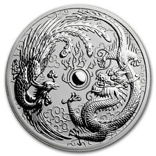 1oz Australian Dragon and Phoenix , 999.9 fine silver coin, 2017