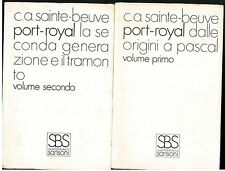 SAINTE-BEUVE PORT-ROYAL 2 VOLUMI SANSONI 1964 ORIGINI PASCAL SECONDA GENERAZIONE
