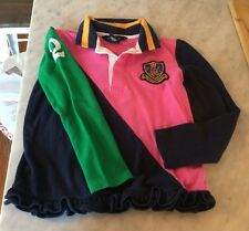 Girls Size 6 6x Polo Ralph Lauren Shirt Ruffled Pink 2 Multi Color Rugby Green
