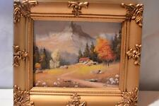 Vintage Wood Ornate PICTURE FRAME Acrylic Painting Mountain Landscape Wedding