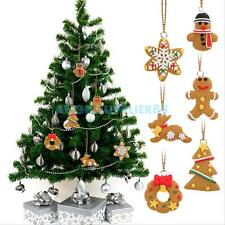 6Pcs Christmas Tree DIY Decor Clay Pendants Hanging Ornament Party Holiday Gift