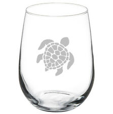 Stemless Wine Glass Goblet 17oz Sea Turtle