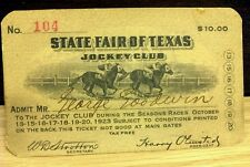 Rare HTF -1923 JOCKEY CLUB TICKET - State Fair of Texas  - Nice Condition