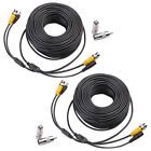 2X100ft Black Camera Cable CCTV Security Surveillance BNC DVR Wired Connectors
