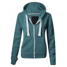 Womens Fleece PLAIN Colour ZIP HOODIE Zipper Small Sizes UK 8 Hooded Sweatshirts