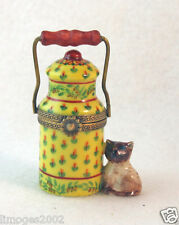 NEW FRENCH LIMOGES TRINKET BOX SIAMESE KITTY CAT KITTEN WITH MILK JUG