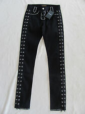 Saint Laurent Paris YSL Black Studded Jeans-Leather Lacing-Size 26- NWT $2500+