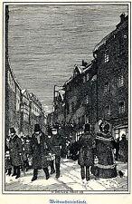 H. Steiner Prag Weihnachtseinkäufe Kunstdruck von 1909