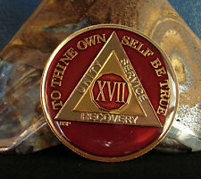 Red Alcoholics Anonymous 17 Year AA Medallion Coin Token Chip Sobriety Sober
