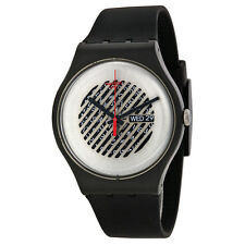 Swatch Originals On The Grill Silver Skeleton Dial Black Rubber Mens Watch