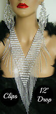 """DRAG QUEEN SILVER CRYSTAL NECKLACE CLIP ON CHANDELIER EARRINGS(5.5"""") PAGEANT**"""