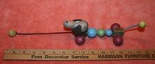 Vintage Unmarked Wood Dog & Spring Pull Toy