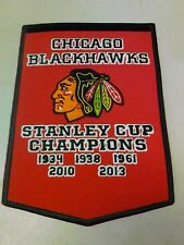 """NEW 5 5/8"""" X 8""""  CHICAGO BLACKHAWKS STANLEY CUP CHAMPIONS BANNER IRON ON PATCH"""