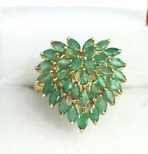14k Solid Gold Yellow Gold Cluster Heart Shape Ring Natural Emerald Sz8.5, 2.6CT