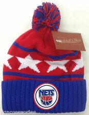 NBA New Jersey Nets Mitchell and Ness Cuffed Pom Knit Hat Cap Beanie KS31Z NEW!