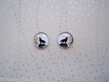 *DOMED GLASS GREY FULL MOON BLACK HOWLING WOLF* Stud 12mm SP Earrings Halloween