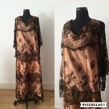 Vintage 1930s Lace Dress / Peach & Brown / Long / S M