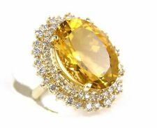 Fine Huge Oval Cut Citrine Lady's Ring w/Diamond Halo 14k Yellow Gold 18.36Ct