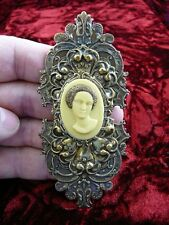 (CA1-56) RARE African American LADY Ivory pine resin CAMEO Pin Pendant Brass